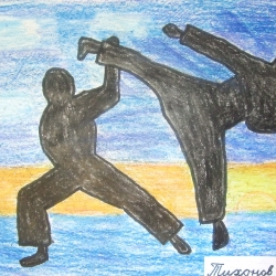 Конкурс рисунка каратэ, Япония , Восток, весна